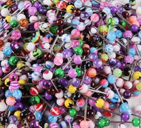 Wholesale Mixed Color Acrylic Tongue Stud Ring For Women candy color Piercing tongue piercing Ring Studs Barbell Jewelry Nibble BY