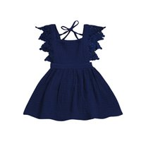 ingrosso tutu onesie-baby dress per ragazze moda Lace Princess Overall Dress per bambini principessa party tutu prendisole maniche corte onesie maxi abiti abiti