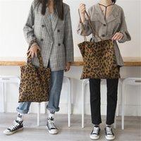 leoparddruck-einkaufstaschen großhandel-Leopardenmuster Umhängetasche Cord Vintage Mode Leopard Tote Handtaschen Frauen Damen Lässig Einkaufen Shopper Handtaschen Geldbörse MMA1736