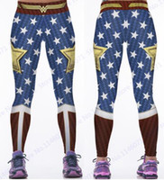 ingrosso pantaloni stretti in poliestere-Wonder Woman Yoga Compression Pants Red Fitness Leggings Elastico in vita Sports Tights Donna Blue Butter Lift Polyester Pants