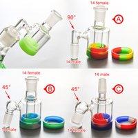 rauchen zubehör container groihandel-Hochwertiger Glasaschenfänger mit 10 ml Silikonbehälter 14MM-14MM Verbindung für Glaswasserpfeife, die Zubehör Ölanlage raucht