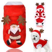 теплый шлем любимчика для зимы оптовых-Осень и зима собака пальто с шапками фланель Лось Санта-Клаус кошка куртки согреться животное Рождественская одежда 10gg E1