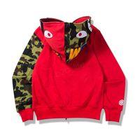 ingrosso giacca invernale lunga unisex-Uomo MA1 Zippe Hoodie Felpe autunno inverno camouflage patchwork Giacca sportiva con cappuccio da uomo Cardigan squalo Cappotto manica lunga LJJA2946