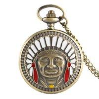 ingrosso design catena indiana per gli uomini-Retro Bronzo Antico Indiano Orologio da taschino Old Man Fashion Portrait Design Orologio da tasca Fob Collana a catena Collane regalo da collezione