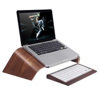 macbook laptop branco venda por atacado-SZAICHGSI Nogueira e vidoeiro De Madeira Oblíqua Universal Laptop Stand Titular Bracket para MacBook Air / Pro