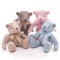 Wholesale teddy bear stuffed animals for sale - Group buy Teddy Bear Stuffed Knitted Doll Plush Toys Animals With Movable Joint Soft Kids Gift Bow Knot cm ww F1