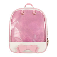 Wholesale pvc backpacks resale online - Women Bow backpack PVC Transparent Clear Schoolbags Cartoon Bow Shoulder Bag PU Girls Rucksack Fashion Backpacks GGA1672