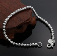 925 links de corrente de pulseira de prata venda por atacado-Moda Oco Out 925 Sterling Silver Elo Da Cadeia de Contas Pulseira Fecho Da Lagosta