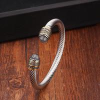 ingrosso bracciali di serpente alla moda-Braccialetti di fascino maschii degli uomini sportivi d'annata dell'acciaio inossidabile dei braccialetti Braccialetti aperti aperti del polsino di modo intrecciati alla moda del serpente