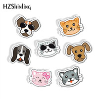 Wholesale cute anchor gifts resale online - New Fashion Cartoon Cat and Dog Shrink Resin Brooches Kawaii Kitten Pug Cute Pets Animals Epoxy Acrylic Brooch for Pets Lovers