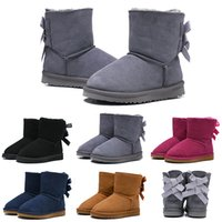 Wholesale full grain leather safety shoes for sale - Group buy Luxury Kids Boots WGG Australian Classic Snow Designer Boots Girl Boy Children Bailey Bow Shoes Ankle Winter Booties Keep Warm