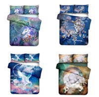 Wholesale rainbow bedding sets resale online - 3D Unicorn bedding Set Rainbow Horse Dream Catcher Colorful Duvet Cover Set with Pillowcase