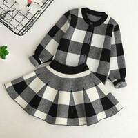 promosyona uygun toptan satış-Promosyon Sonbahar Yeni Kız Giyim Setleri Rahat Uzun Kollu Ekose Ceketler + Skits Çocuklar Için 2 Adet Suits Set