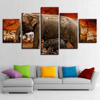 ingrosso tela della stanza del bambino-Canvas Poster Modular Wall Artwork 5 pezzi Elephant Animal Baby Landscape Paintings Home Decoration Soggiorno stampa Immagini