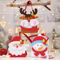 Wholesale felt christmas gift bags resale online - Cartoon Patchwork Santa Claus Snowman Reindeer Felt Craft Gift Bag for Christmas Tree Hanging Ornament Candy Apple Supplie AF024