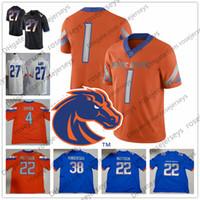 siyah ct toptan satış-Boise State Broncos # 6 CT Thomas 7 AJ Richardson 8 Sean Modster 10 Chase Kablosu 81 Akilian Butler Beyaz Turuncu Siyah Mavi Jersey