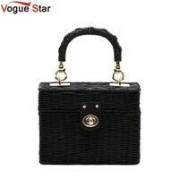 Wholesale hand bags for cell phones resale online - New rattan black straw Shoulder Bag Women hand woven Messenger Bag Summer Beach Square box Straw Handbag For lady Bolsa L116