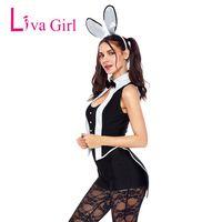 ingrosso costume coniglietto nero della ragazza-Liva Girl Sexy Tuxedo Bunny Costume Cosplay Salopette corta per adulti Costumi Halloween Pagliaccetti senza maniche 2018 Nero Tuta
