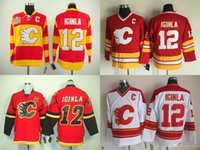 Wholesale china jerseys xxxl resale online - 2016 New Cheap Calgary Flames Jarome Iginla Jersey Team Color Home Red Yellow Stitched with C Patch China Ice Hockey Jerseys