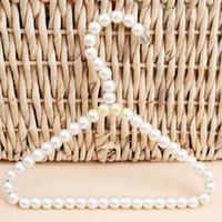 Wholesale clothes hangers pearls resale online - 100pcs cm Plastic Pearl Beaded Clothes Dress Coat Hangers Wedding For Pet Kid Children Save Space Storage Organizer