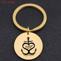 анкерная брелка из нержавеющей стали оптовых-Fashion Stainless Steel Round Keychain Engraved Lieblings Zicke And Anchor Suitable For Everyone Key Ring Trendy Charm Gift Tag
