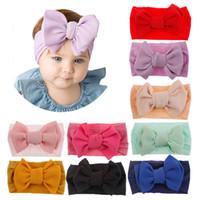 ingrosso avvolgimenti a mano fatti a mano-Cerchietto in nylon con fiocchi fatti a mano, accessori per capelli cute baby grandi fiocchi per bambini fasce per bambini Turban Head Wraps
