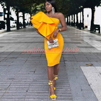 Wholesale evening gowns online - Sexy Yellow Short Evening Dresses Nigerian One Shoulder Sheath African Formal Wear Party Vestido de noche Special Occasion Prom Gowns
