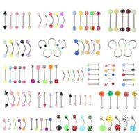 90pcs Großhandel Körperschmuck Augenbrauen Nabel Zunge Nase Piercing Bar Ring DI