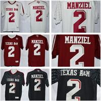 camisolas de futebol venda por atacado-NCAA Texas A & M Aggies 2 Johnny Manziel Jersey Homens Crianças Homem Vermelho Jovem Black White Men College Football costurado Boa Hot Sale