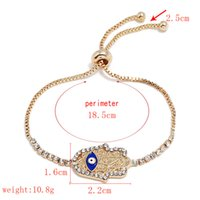 Wholesale metal hand wrist cuffs resale online - Link Chain Crystal Gold Heart Wrist Bracelet Hamsa hand of Fatima Heart Metal Cuff Bracelet