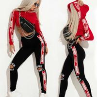 costume de sport féminin achat en gros de-Survêtements Femmes Sport Deux pièces Vêtements Survêtement Patchwork À Capuche Sweat Long Pantalon Jogger Outfit Set Femme Survêtements Costumes