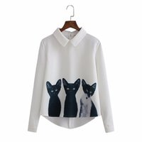 девушки с длинными рукавами белые блузки оптовых-Fashion Women's Three Cats Printing Pullover Shirt Long Sleeve Korean Style Casual Girls White Blouse OL Blusas De Mujer Feb4@40