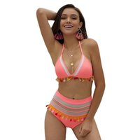 biquíni de alta lycra venda por atacado-Cintura alta Conjunto Biquínis Praia Boho Swimwear Mulheres Pom Pom Borlas Swimsuit Maiô Mulheres Brasileiro Beachwear