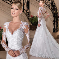 Wholesale plus size beach wedding dresses online - Vestidos De Noiva Full Lace Wedding Dresses V Neck Court Train Long Sleeves Illusion Beach Wedding Gowns Custom Bridal Dress