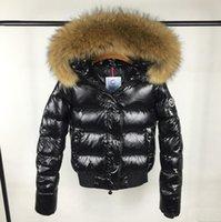 kadın ceketi yaka kemeri toptan satış-Kadınlar Kış Ördek Aşağı Ceket 100% Gerçek Büyük Rakun Kürk Yaka Aşağı Ceket Kapüşonlu Kemer Bel Kalın Ördek Aşağı Parkas