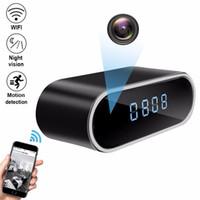 ir saatli kamera toptan satış-1080 P HD IP Kamera Saat Kameralar Wifi Kontrol Gizli IR Gece Görünümü Alarm Kamera CCTV Kameralar Dijital Saat Video Kamera Mini DV DVR