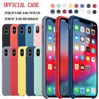 oficial de manzana al por mayor-Tiene LOGO original oficial de silicona para iPhone 7 8 Plus para Apple Case para iPhone X XS Max XR 6 6S cubierta de la caja del teléfono Funda