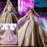 Wholesale cathedral train dresses for sale - Group buy 2020 Ball Gown Wedding Dresses Applique Rhinestone Sequins Strapless Bride Gowns Cathedral Tarin Vestidos De Novia