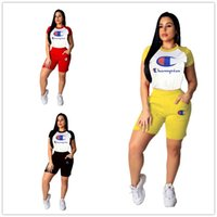 Wholesale polo shirts sportswear resale online - Women Champions Raglan Tracksuit Short Sleeve Polo T shirts Shorts set Sportswear Summer Stitching Color Outfits Jogger Suit A4903