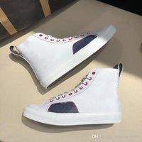логотипы ботинок обуви оптовых-Tattoo Sneaker Boot Роскошные мужские дизайнерские туфли Monogram Canvas Высокие кеды Вышивка Большой логотип Повседневная Мужчины Высококачественные теннисные кроссовки