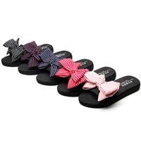 zapatos de tacón bajo bowknot mujeres al por mayor-Verano Ocasional Fuera de Las Mujeres Zapatillas de Bowknot 2018 Moda Mujer Damas Zapatos Calzado Playa Zapatos Planos de tacón bajo 3 cm tamaño 35-42