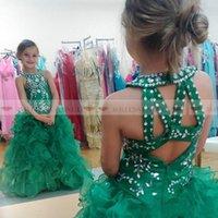 grüne paillettenröcke für mädchen großhandel-Prinzessin 2019 Neckholder Green Organza Mädchen Pageant Kleider Sleeveles Pailletten Perlen Puffy Rock Kleinkind Kinder Formale Kleider Nach Maß