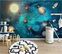 Wholesale wall paintings for drawing room resale online - 3d wallpaper custom photo mural Hand drawn space universe children s room background wall painting art canvas pictures wall tapestry d