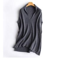 ingrosso gilet di maglione-Maglione nuovo autunno inverno femminile maglione 100% maglione di cachemire donne scialle con scollo a V pullover senza maniche in lana sciolto