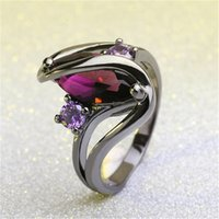 Wholesale purple stainless steel ring band resale online - Fashion Luxury Vintage Purple Zircon CZ Crystal Colorful Rings For Women Wedding Engagement Jewelry Stainless Steel Rings Hot