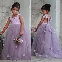 Wholesale yellow lace flower girl dresses for sale - Group buy 2019 Lovely Lavendar Flower Girls Dresses D Flowers Girls Pageant Gowns for Kids Wedding Party Criss Cross Back Sweep Train