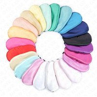 Wholesale Padded Silk Eye Mask Solid Color Sponge Shade Nap Eye Cover Blindfold Sleep Mask Women s Sleeping Travel Soft Masks Double Sides D61812