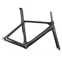 mat karbon çatalı toptan satış-Karbon Parça Çerçeve Karbon Fiber Sabit Dişli bisiklet çerçeve Karbon Yarış Takip bisiklet Frameset 505/535 / 565mm çatal seatpost ile