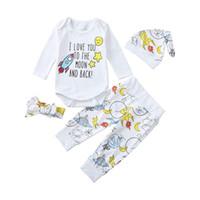 головной убор для девочек оптовых-2019 Baby Girl Одежда с длинным рукавом O-образным вырезом из хлопка для малышей Baby Cartoon Письмо с принтом ползунки + брюки + шляпа + повязки Набор одежды