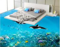 fondo de pantalla de delfines bajo el agua al por mayor-Personalizado 3D Autoadhesivo Impermeable Suelos wallpaper foto Etiqueta de la pared Underwater World Dolphin Dormitorio Cocina 3D Pintura del piso
